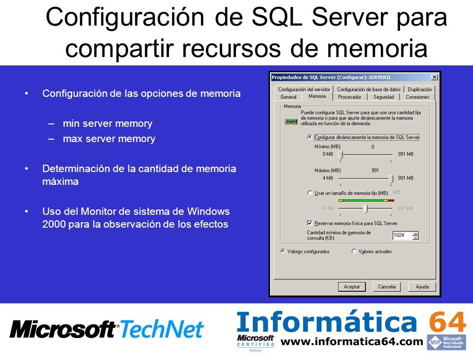Configuración de SQL Server para compartir recursos de memoria