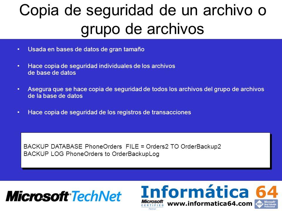 Copia de seguridad de un archivo o grupo de archivos