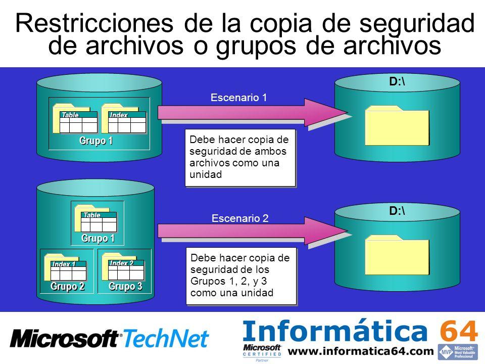 Restricciones de la copia de seguridad de archivos o grupos de archivos