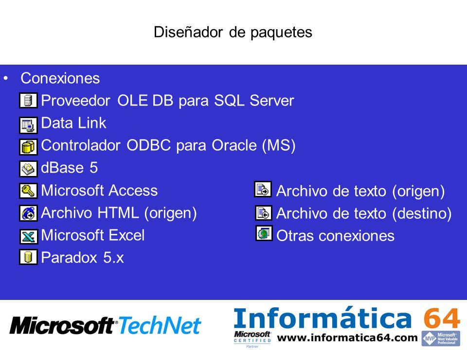 Diseñador de paquetes Conexiones. Proveedor OLE DB para SQL Server. Data Link. Controlador ODBC para Oracle (MS)