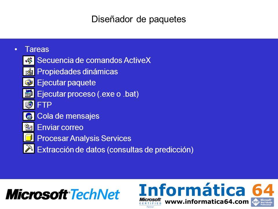 Diseñador de paquetes Tareas Secuencia de comandos ActiveX
