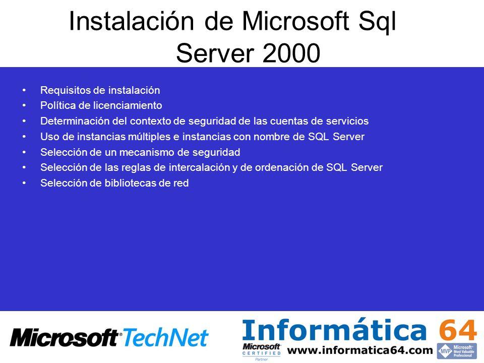 Instalación de Microsoft Sql Server 2000