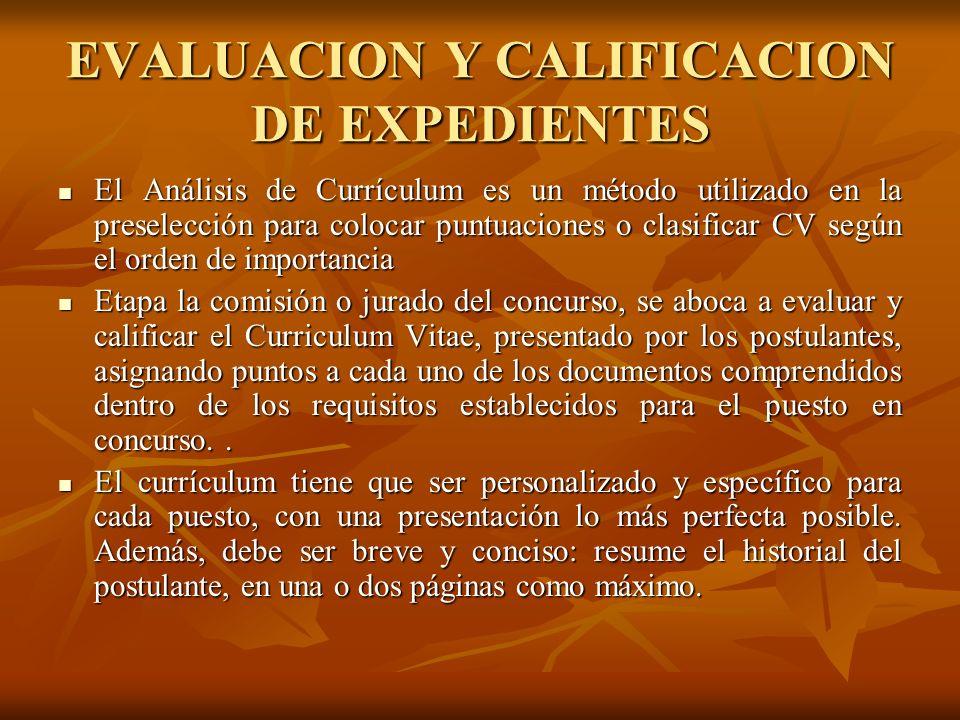 EVALUACION Y CALIFICACION DE EXPEDIENTES
