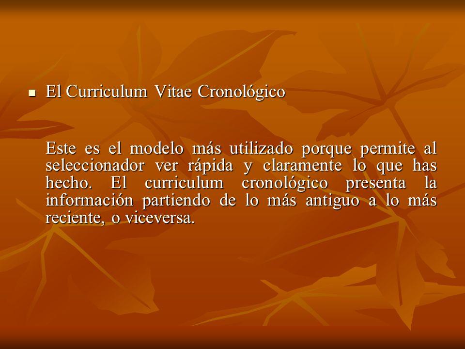 El Curriculum Vitae Cronológico