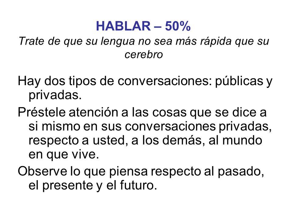 HABLAR – 50% Trate de que su lengua no sea más rápida que su cerebro