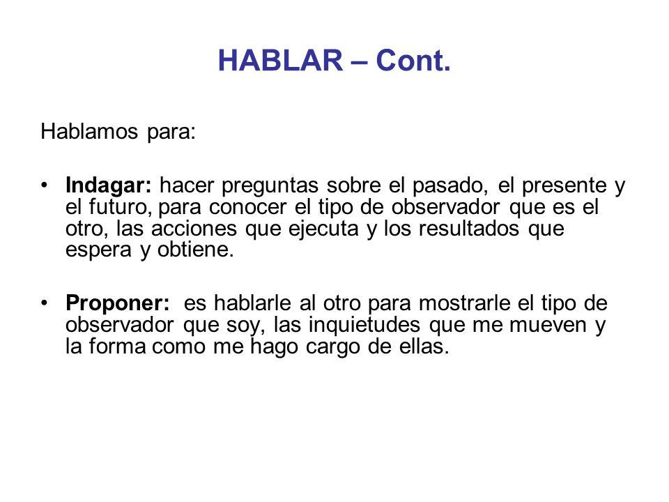 HABLAR – Cont. Hablamos para: