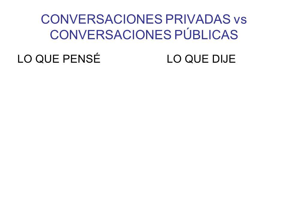 CONVERSACIONES PRIVADAS vs CONVERSACIONES PÚBLICAS