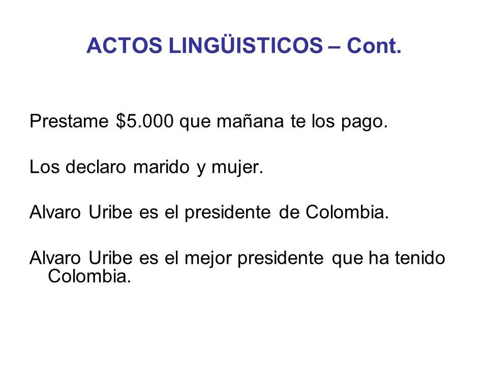 ACTOS LINGÜISTICOS – Cont.