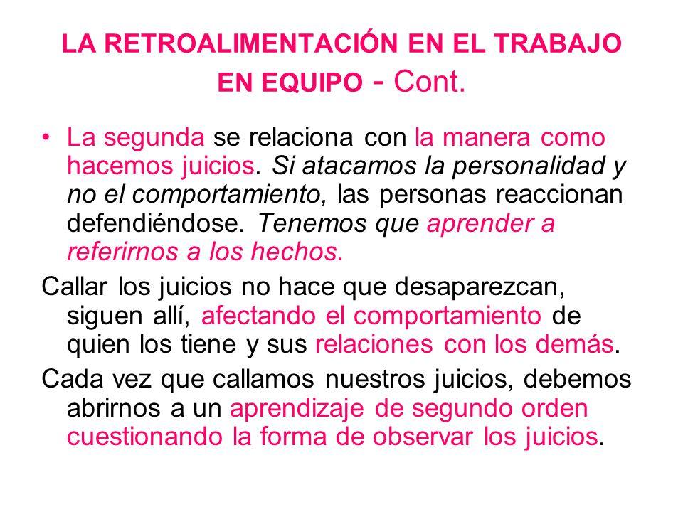 LA RETROALIMENTACIÓN EN EL TRABAJO EN EQUIPO - Cont.