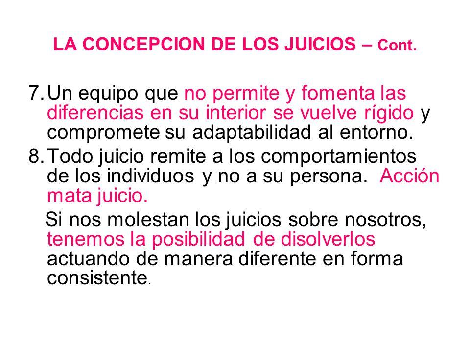 LA CONCEPCION DE LOS JUICIOS – Cont.
