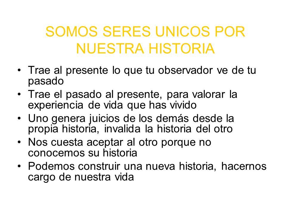 SOMOS SERES UNICOS POR NUESTRA HISTORIA