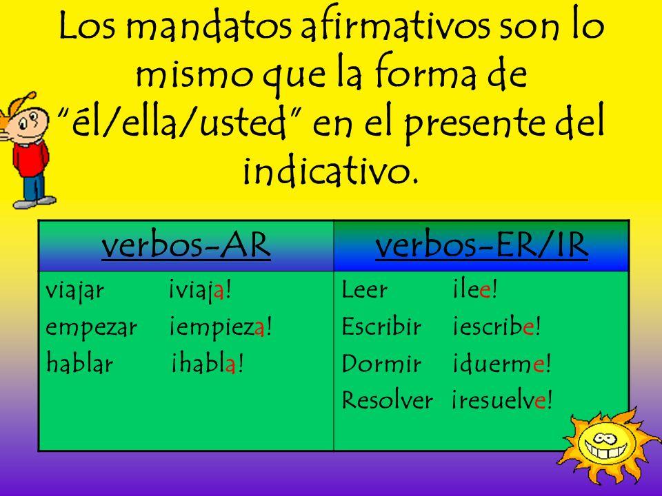 Los mandatos afirmativos son lo mismo que la forma de él/ella/usted en el presente del indicativo.