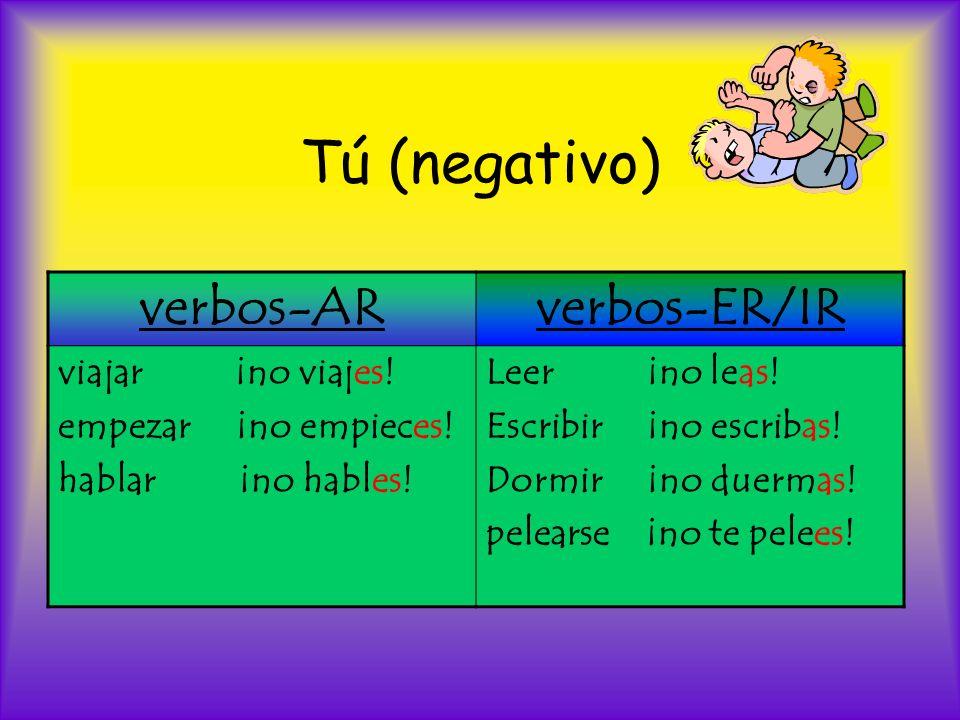 Tú (negativo) verbos-AR verbos-ER/IR viajar ¡no viajes!