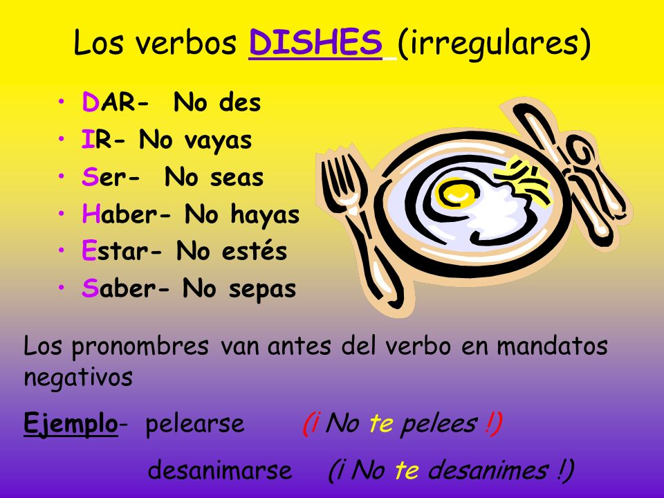 Los verbos DISHES (irregulares)
