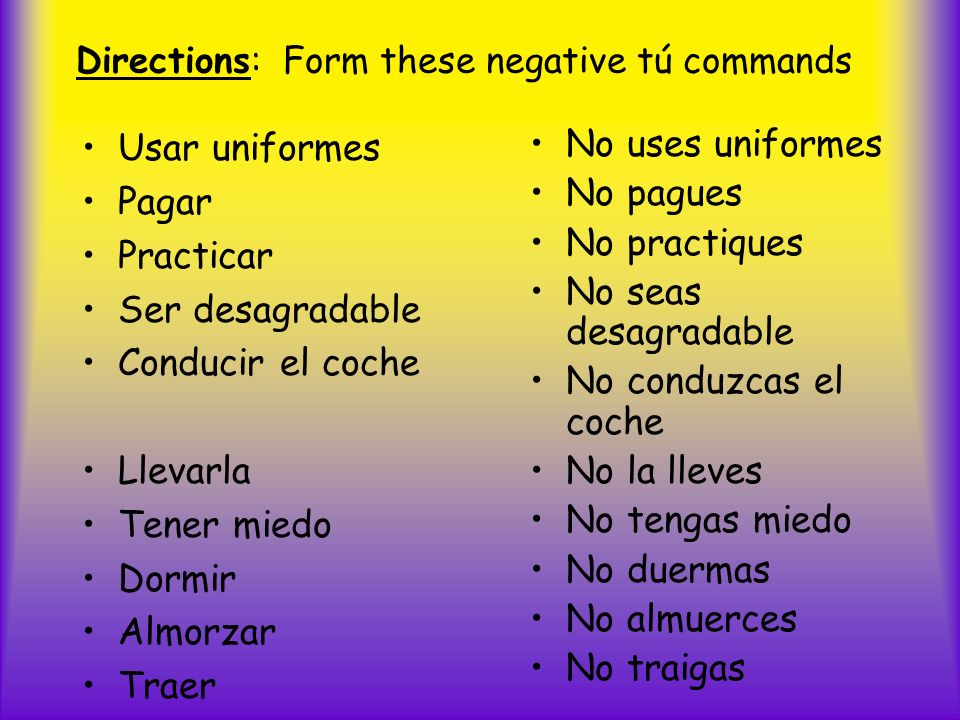 Directions: Form these negative tú commands