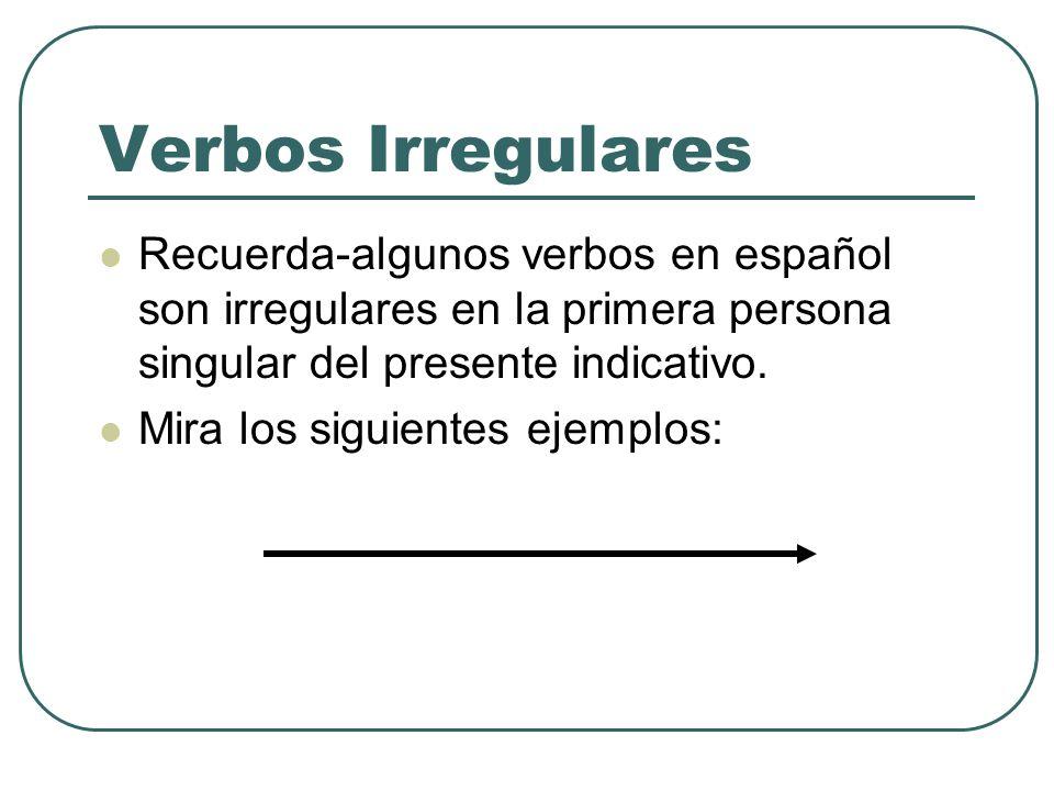 Verbos IrregularesRecuerda-algunos verbos en español son irregulares en la primera persona singular del presente indicativo.