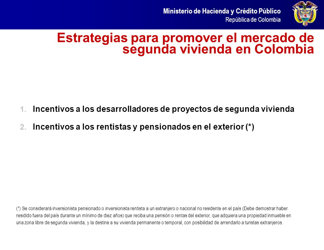 Estrategias para promover el mercado de segunda vivienda en Colombia