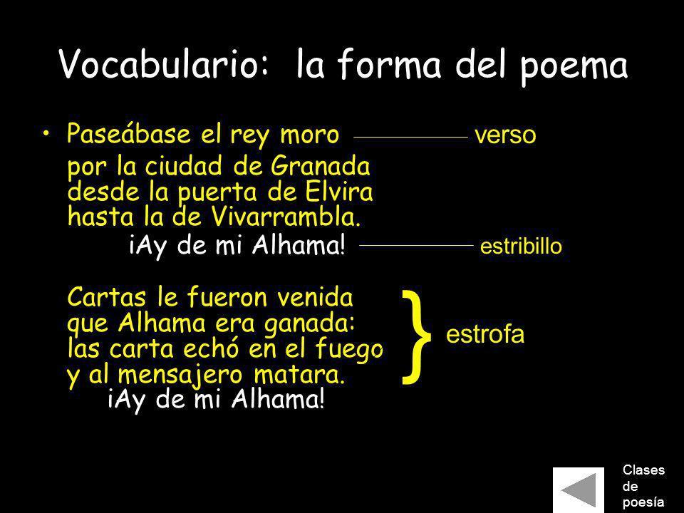 Vocabulario: la forma del poema