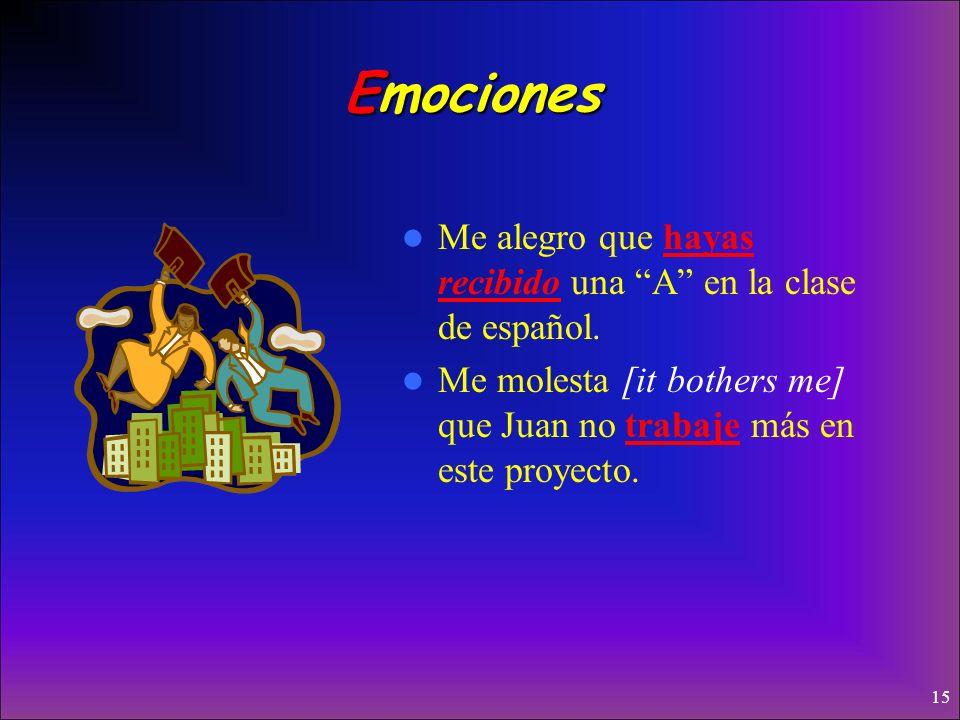 Emociones Me alegro que hayas recibido una A en la clase de español.