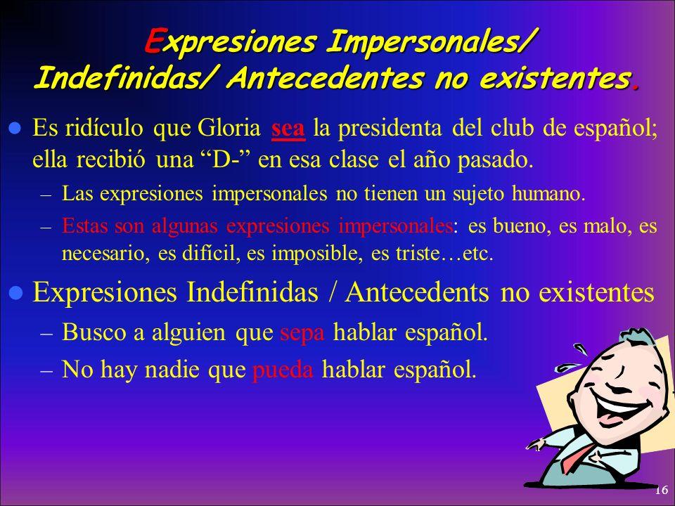 Expresiones Impersonales/ Indefinidas/ Antecedentes no existentes.