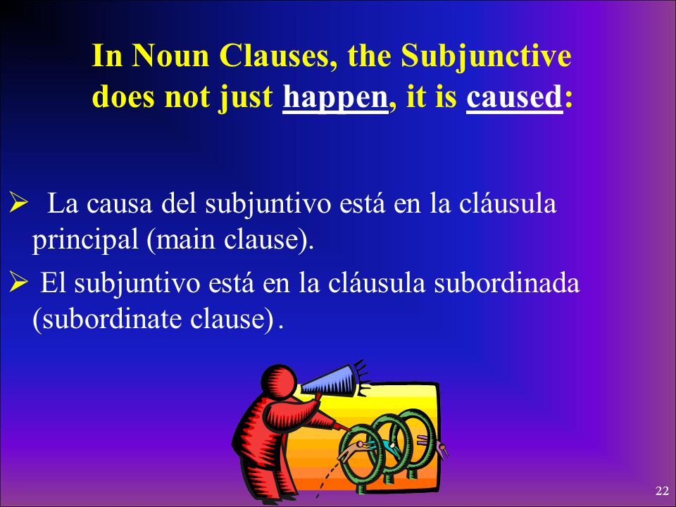 In Noun Clauses, the Subjunctive does not just happen, it is caused: