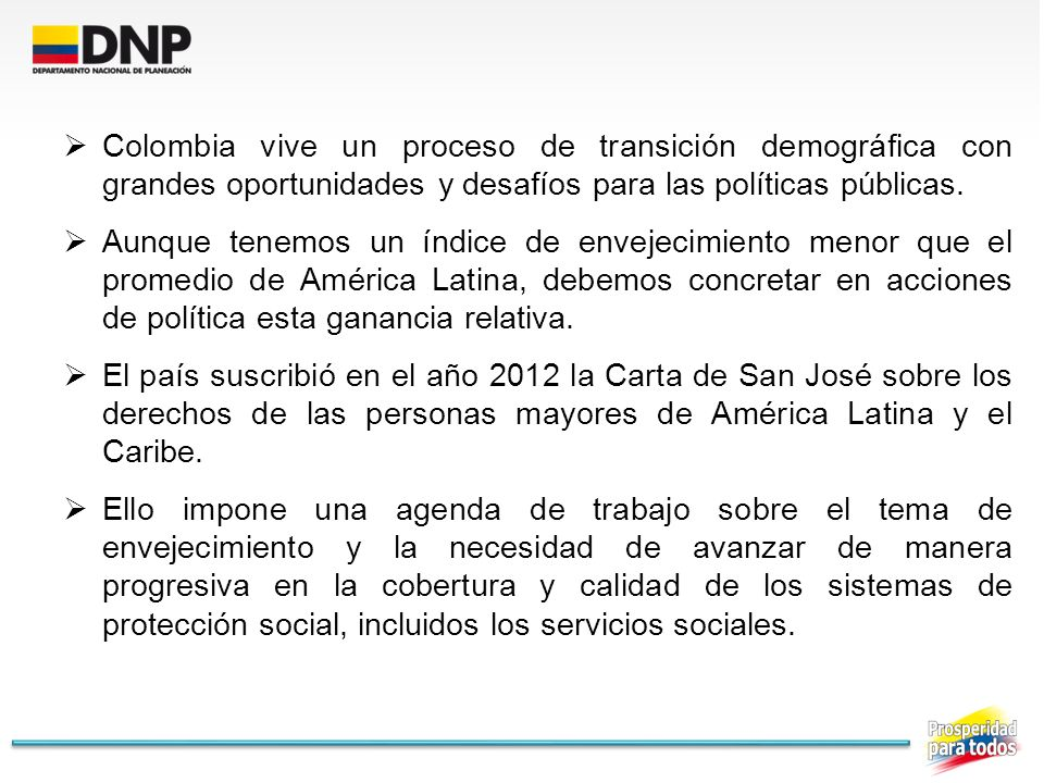 Colombia vive un proceso de transición demográfica con grandes oportunidades y desafíos para las políticas públicas.