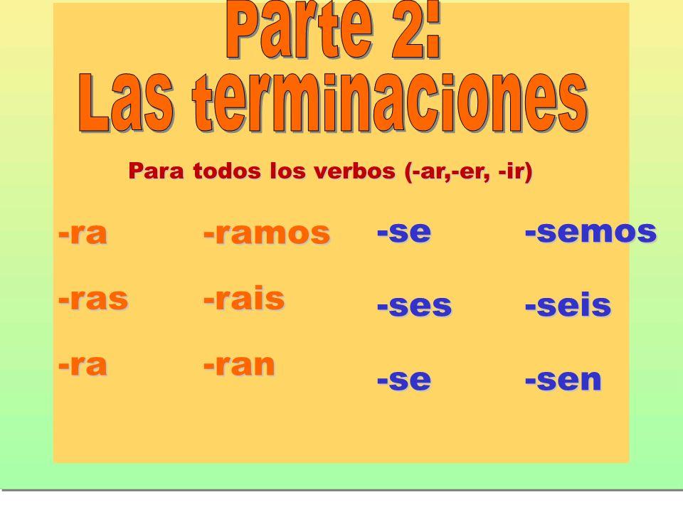 Para todos los verbos (-ar,-er, -ir)