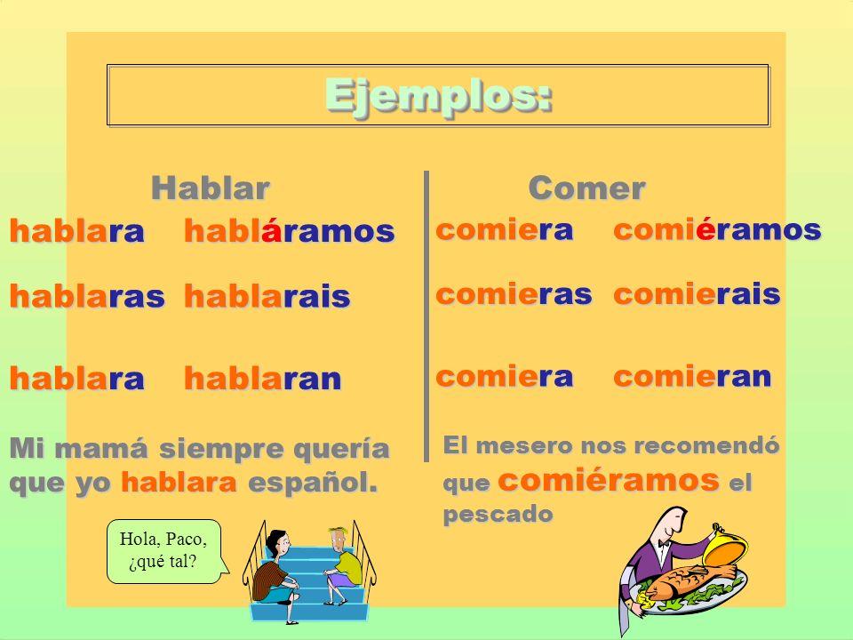 Ejemplos: Hablar Comer hablara habláramos hablaras hablarais hablaran