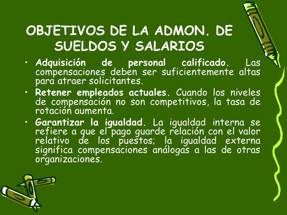 OBJETIVOS DE LA ADMON. DE SUELDOS Y SALARIOS