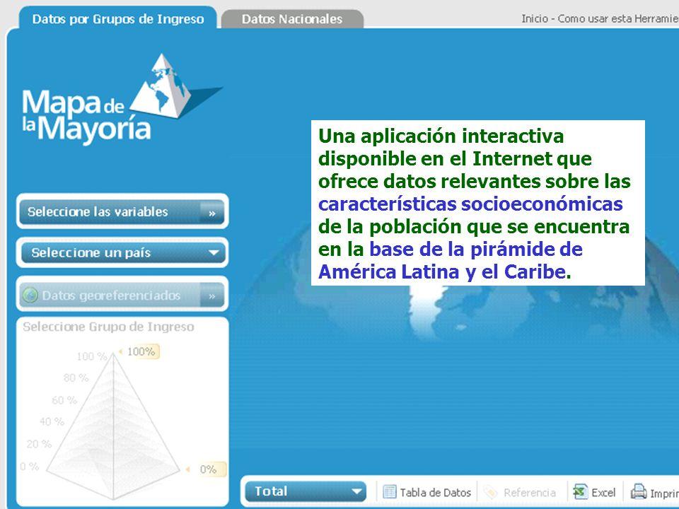 Una aplicación interactiva disponible en el Internet que ofrece datos relevantes sobre las características socioeconómicas de la población que se encuentra en la base de la pirámide de América Latina y el Caribe.