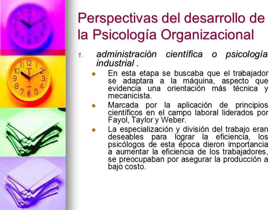 Perspectivas del desarrollo de la Psicología Organizacional