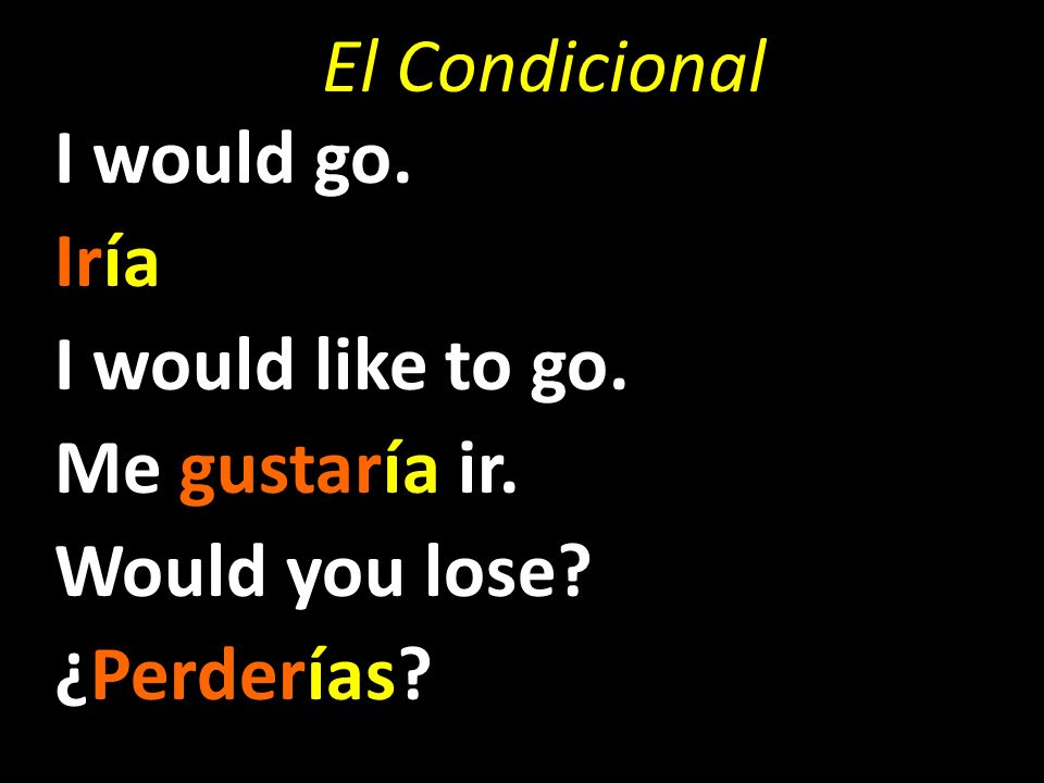 El Condicional I would go. Iría I would like to go. Me gustaría ir. Would you lose ¿Perderías