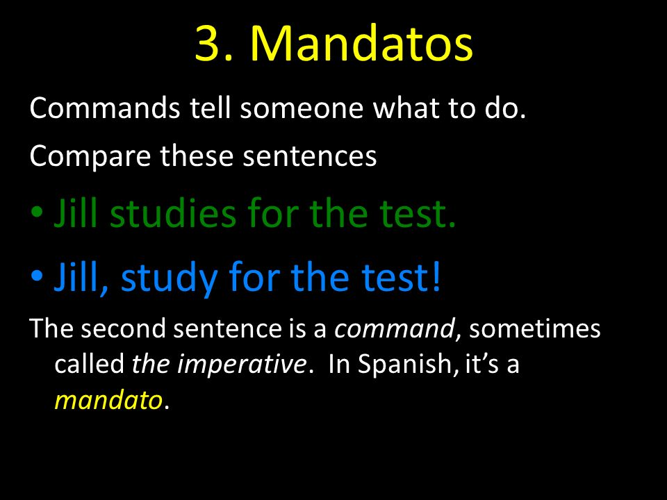 3. Mandatos Jill studies for the test. Jill, study for the test!