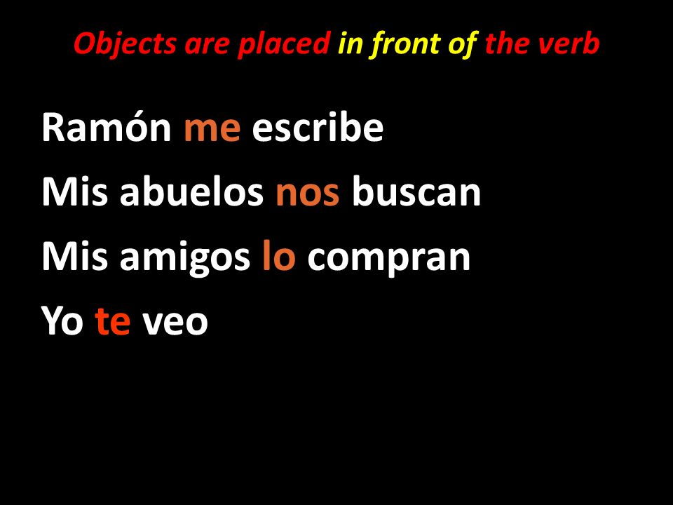 Objects are placed in front of the verb