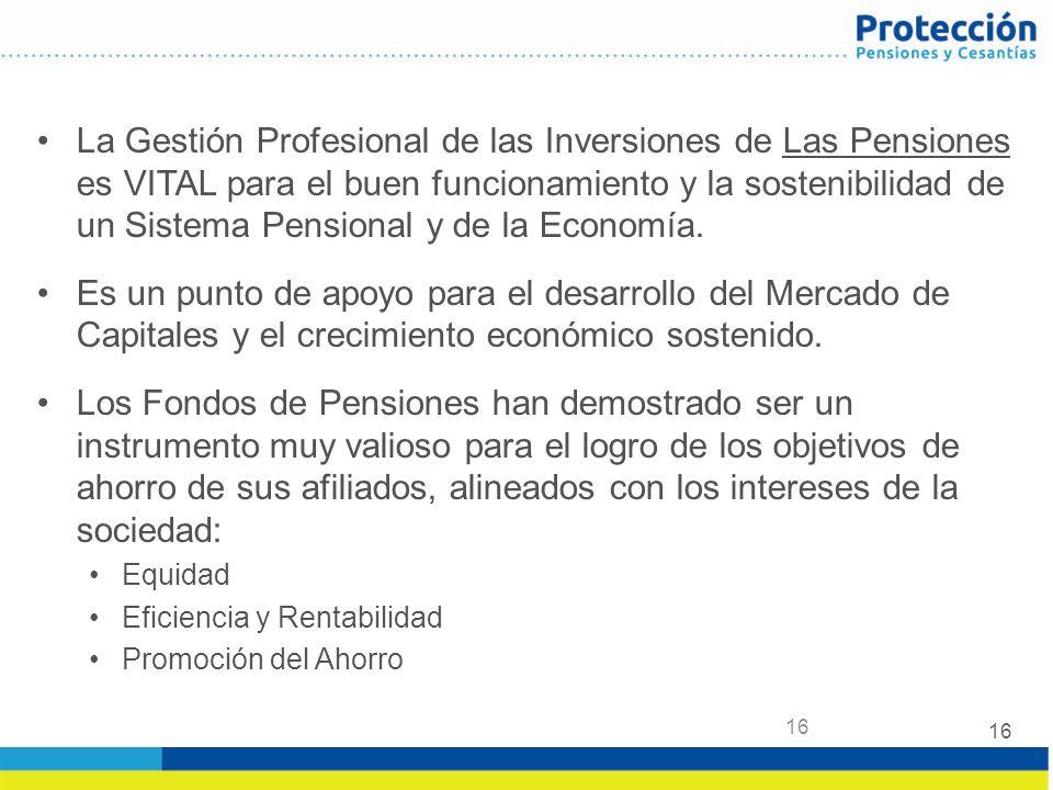 La Gestión Profesional de las Inversiones de Las Pensiones es VITAL para el buen funcionamiento y la sostenibilidad de un Sistema Pensional y de la Economía.