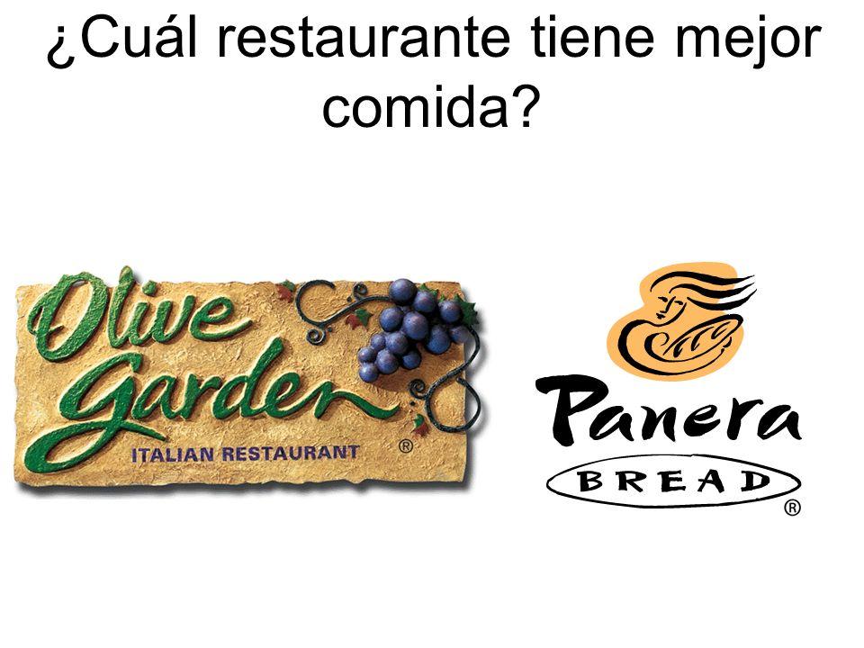 ¿Cuál restaurante tiene mejor comida