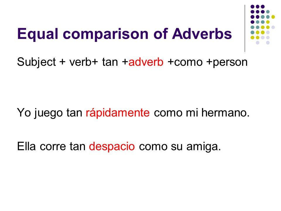 Equal comparison of Adverbs