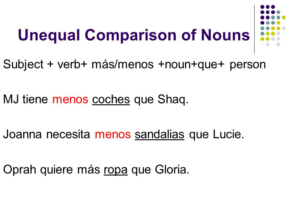 Unequal Comparison of Nouns