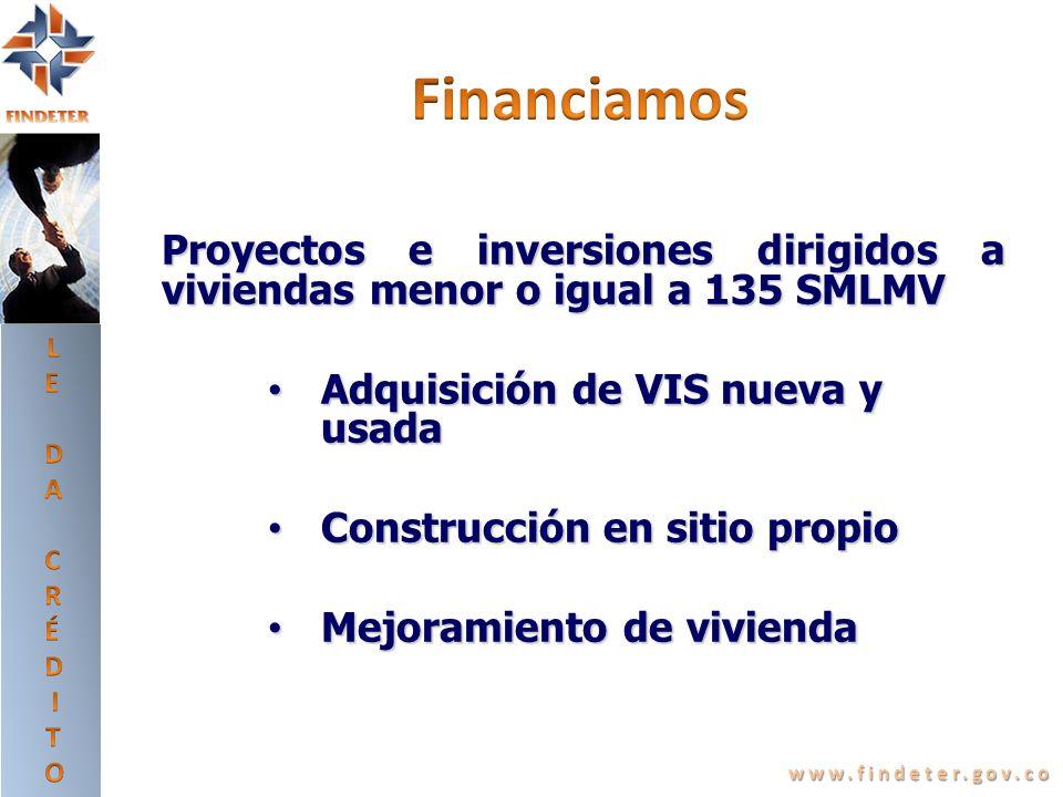 LEDA CRÉDITO. Financiamos. Proyectos e inversiones dirigidos a viviendas menor o igual a 135 SMLMV.