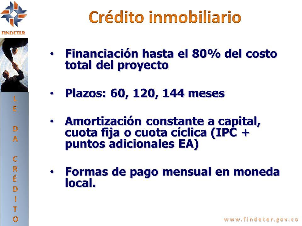LEDA CRÉDITO. Crédito inmobiliario. Financiación hasta el 80% del costo total del proyecto. Plazos: 60, 120, 144 meses.