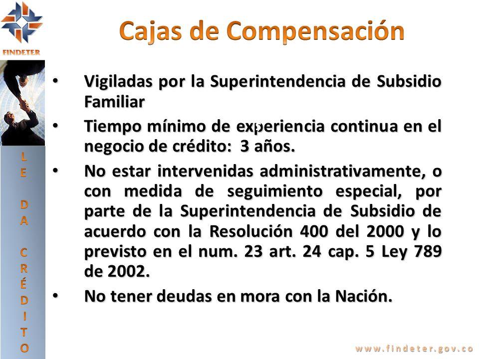 LE DA CRÉDITO. Cajas de Compensación. Vigiladas por la Superintendencia de Subsidio Familiar.