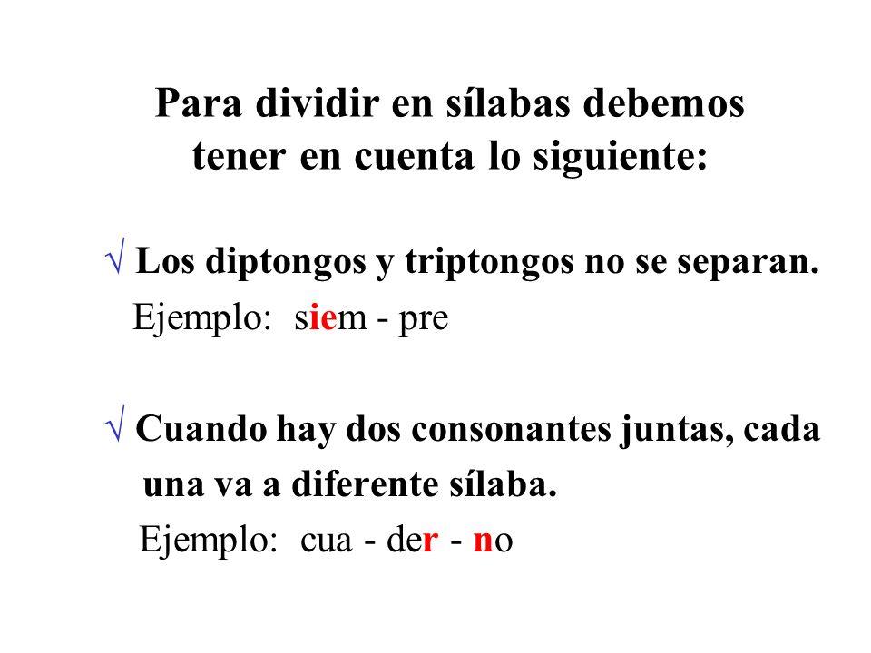 Para dividir en sílabas debemos tener en cuenta lo siguiente: