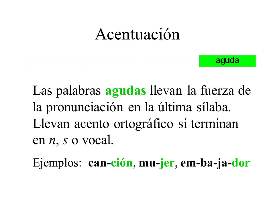Acentuación Las palabras agudas llevan la fuerza de la pronunciación en la última sílaba. Llevan acento ortográfico si terminan en n, s o vocal.