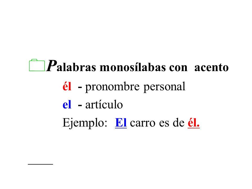 Palabras monosílabas con acento
