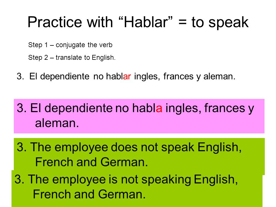 Practice with Hablar = to speak