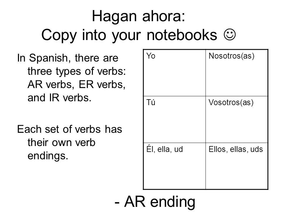 Hagan ahora: Copy into your notebooks 
