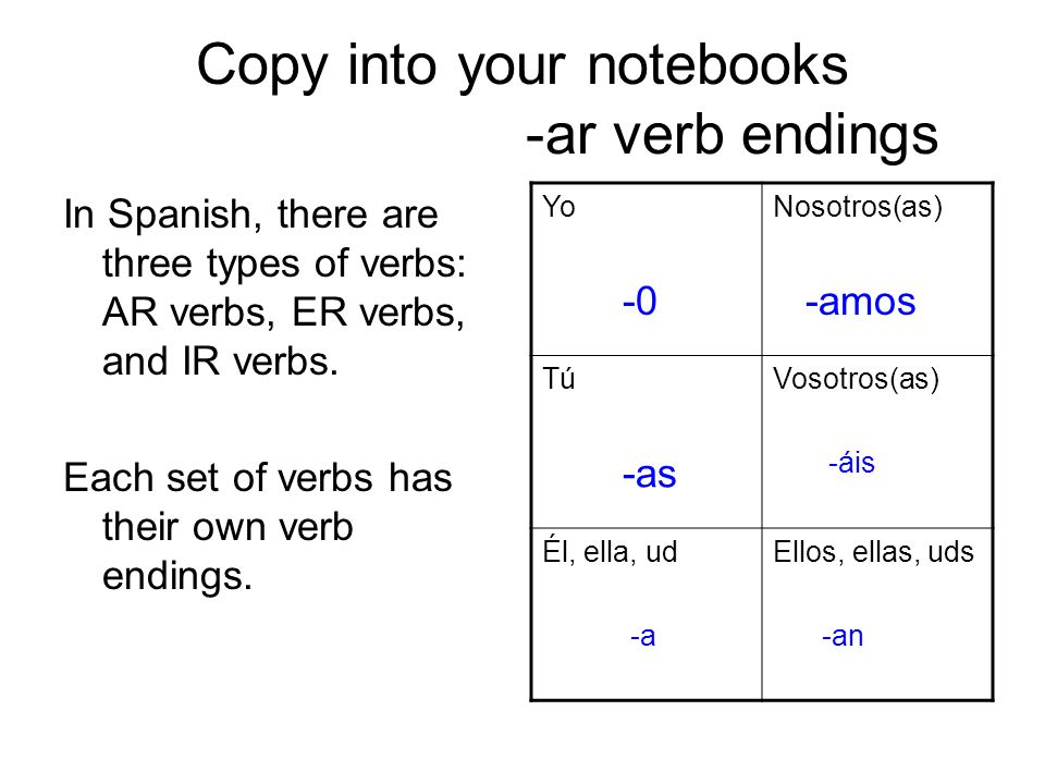 Copy into your notebooks -ar verb endings