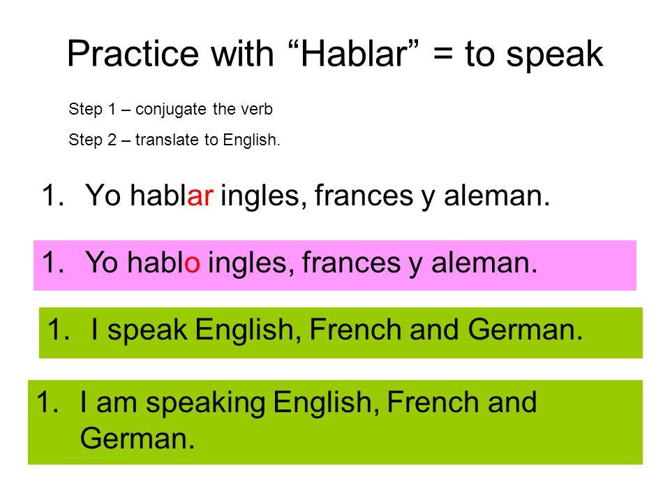Practice with Hablar = to speak