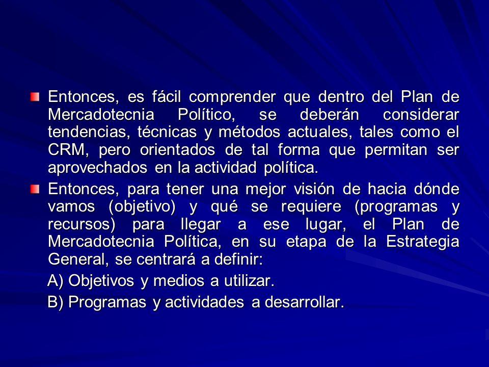 Entonces, es fácil comprender que dentro del Plan de Mercadotecnia Político, se deberán considerar tendencias, técnicas y métodos actuales, tales como el CRM, pero orientados de tal forma que permitan ser aprovechados en la actividad política.