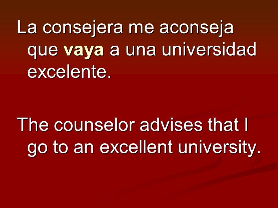 La consejera me aconseja que vaya a una universidad excelente.